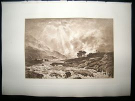 Dujardin after Peter Graham 1885 Photogravure. A Spate in the Highlands